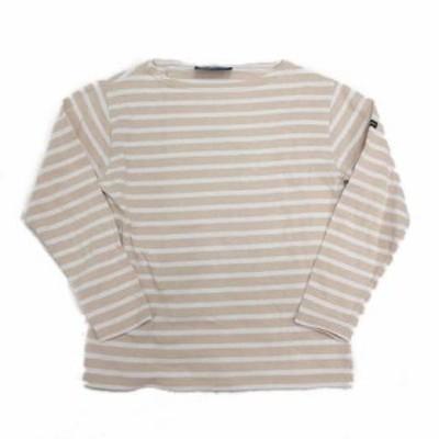 【中古】セントジェームス SAINT JAMES バスクシャツ カットソー ボーダー ボートネック XXS ベージュ 白/17▼10 レディース