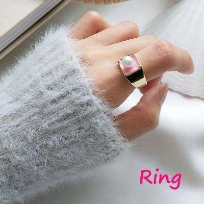 指輪 オープンリング レディース 女性 アクセサリー シルバー925 フェイクパール かわいい おしゃれ フリーサイズ 調節可能 ゴールドカラー ギフ