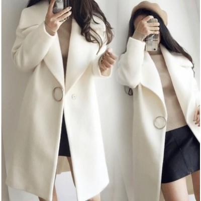 即納 セール サークルブローチ付 ガーリー シンプル ピーコート ミディアム丈コート ライトアウター
