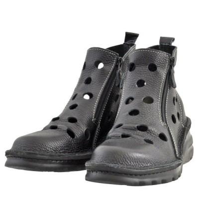 レディース 靴 ブーツ ドーラ 日本製 軽量 幅広 4E パンチング スプリングサマーブーツ 送料無料 ブラック Dola0032BLK