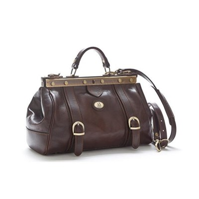 Doctor Bag in Vintage Style with Full Metal Zipper and Vegetable Tanned Leather (Testa di Moro) 並行輸入品