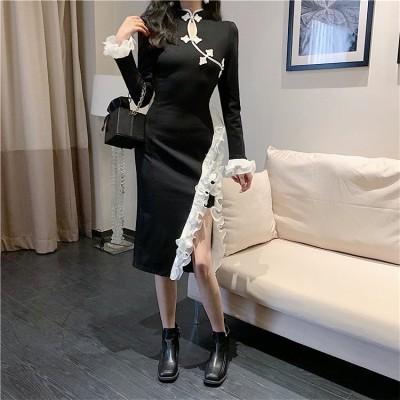 [55555SHOP]スリム セクシー ワンピース レディース 気質 中華風 民國風 スリムドレス パーティードレス 誕生日会服 結婚式 宴会 貴族 優雅