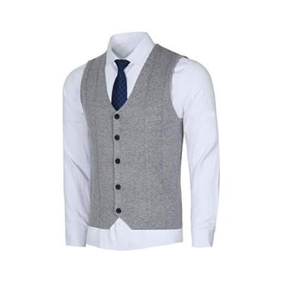 Yingqible ニットベスト メンズ Vネック 前開き ウール スーツ組み合わせ チョッキ カジュアル ビジネス (ライトグレー 2XL)