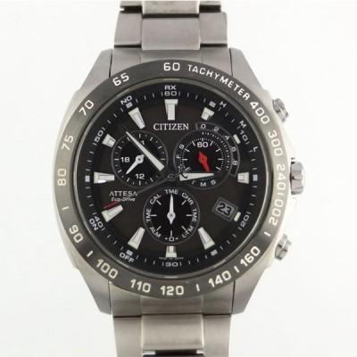 シチズン CITIZEN アテッサ エコドライブ E610-T016251 ソーラー電波 チタン ブラック文字盤 メンズ腕時計 【中古】