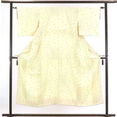 リサイクル着物 小紋 正絹薄クリーム地袷小紋着物