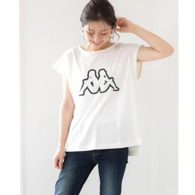 【フィズ】 kappa フレンチスリーブビッグロゴTシャツ レディース オフホワイト M Fizz