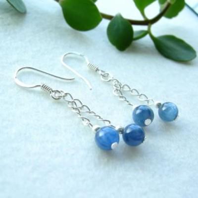 パワーストーン ピアス 天然石 ノンホールピアス 藍色の結晶 カイヤナイト 癒し 浄化 幸運 ブ