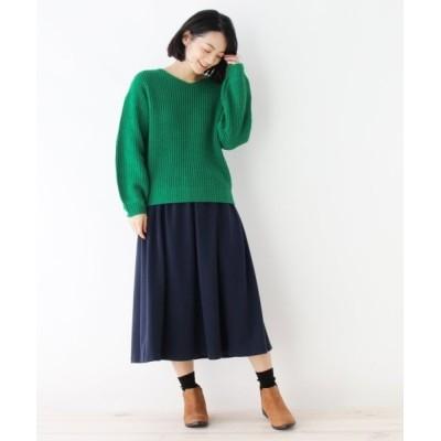 【ピンクアドベ】 Vネックニット+ギャザースカート レディース グリーン×ネイビー 40(L) pink adobe