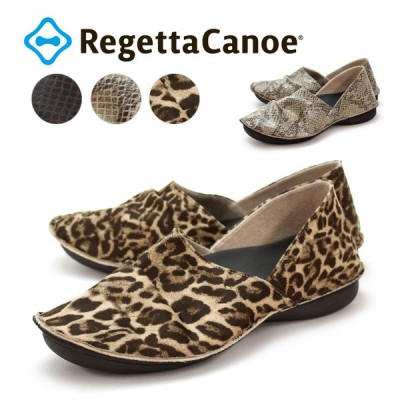 RegettaCanoe-リゲッタカヌー-CJBB-4802 バブーシュソール アニマル柄タイプ 履きやすい 歩きやすい ヘビ柄 ヒョウ柄 起毛