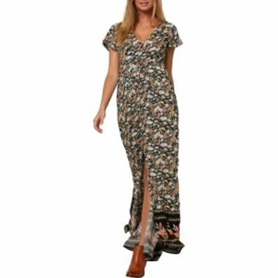 オニール ONEILL レディース ワンピース マキシ丈 ワンピース・ドレス Clarissa Border Print Tie Waist Maxi Dress Black