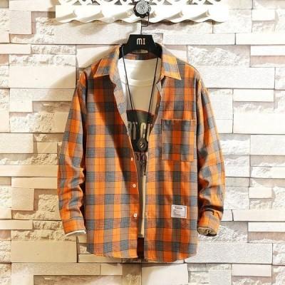 ワイシャツ メンズ トップス 折り襟 チェック柄 格子柄 カジュアル 定番 Yシャツ 長袖 胸ポケット付き ボタン スクール風 シンプル