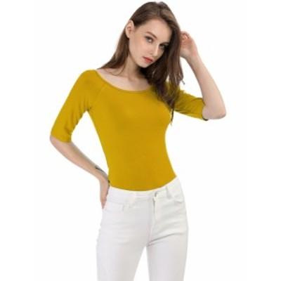 Allegra K 無地 tシャツ 5分丈 五分袖tシャツ トップス ストレッチ スリム シンプル レディース イエロー XS