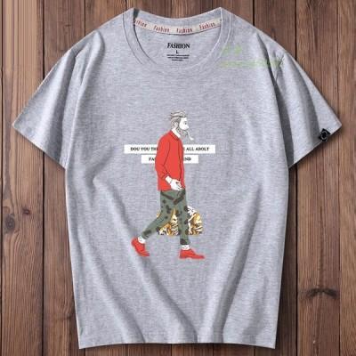 半袖Tシャツ メンズ クルーネック丸首 Tシャツ トップス メンズファッションョ お洒落 夏 Tシャツ カジュアル ゆったり