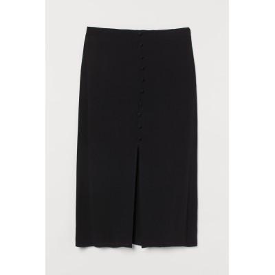 H&M - フロントスリットスカート - ブラック
