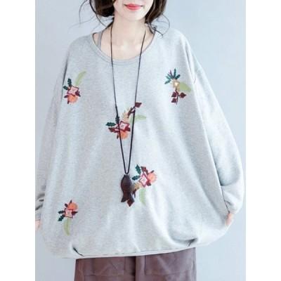 【送料無料】気心地よい ファッション トップス ラウンドネック レディース 刺繍入り 合わせやすい カジュアル Tシャツ