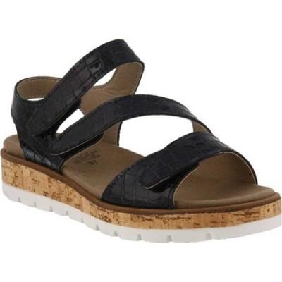 スプリングステップ Flexus by Spring Step レディース サンダル・ミュール ウェッジソール Sadler Cork Wedge Sandal Black Patent Croco Leather