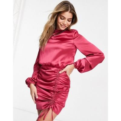 アリア Aria Cove レディース ワンピース ワンピース・ドレス satin high neck flare sleeve mini dress with ruched skirt detail in hot pink ピンク