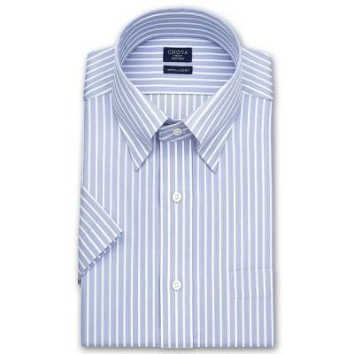 ワイシャツ Yシャツ メンズ 半袖 CHOYA SHIRT FACTORY    形態安定加工 ブルーストライプ スナップダウンシャツ おしゃれ(sa1)