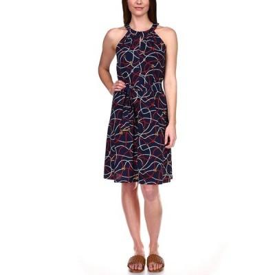 マイケルコース ワンピース トップス レディース Printed Twist-Front Dress, Regular & Petite Midnight Blue Multi