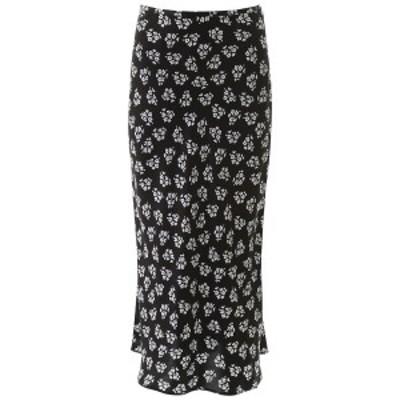 RIXO LONDON/リキソー ロンドン ミモレ丈スカート BUNCH SHADOW FLORAL BLACK WHITE Rixo london floral-printed kelly skirt レディース