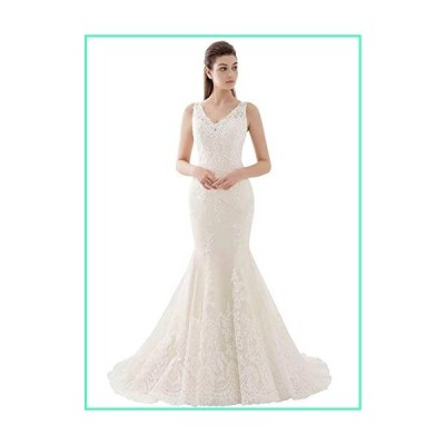 SDRESS Women's V-Neck Mermaid Lace Applique Bridal Wedding Dress Illusion Back Prom Dress Formal Gown Ivory Size 10並行輸入品