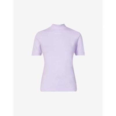 カルバンクライン CALVIN KLEIN レディース Tシャツ コットン ロゴ ストレッチ トップス Micro-Logo Stretch-Cotton T-Shirt Palma Lilac