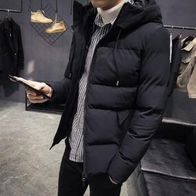 ジャケット メンズ アウター キルティングコート 無地 フード付き カジュアル シンプル 暖かい ジップアップ 通勤 通学