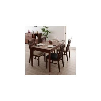 ダイニングテーブルセット 4人用 モダンデザインダイニング 5点セット テーブル+チェア4脚 W120-180 0406008387