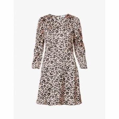 クローディ ピエルロ CLAUDIE PIERLOT レディース ワンピース ミニ丈 ワンピース・ドレス Reyna leopard-print satin-crepe mini dress L