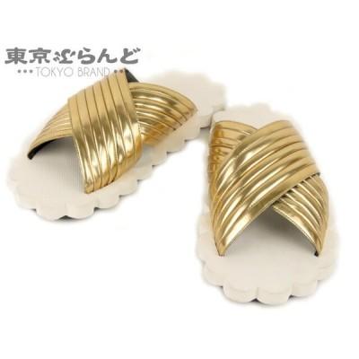 マルニ MARNI サンダル ダイカット レザー ラバー ゴールド ホワイト #37 レディース 靴  101470362