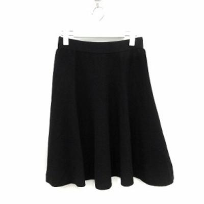 【中古】未使用品 トゥービーシック スカート ひざ丈 フレア ニット 40 L 黒 ブラック 日本製 /YO18 レディース