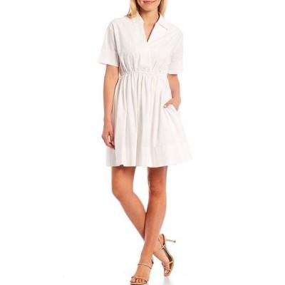 エーラブズエー レディース ワンピース トップス Short Sleeve Poplin Cotton Cinched Waist Shirt Dress