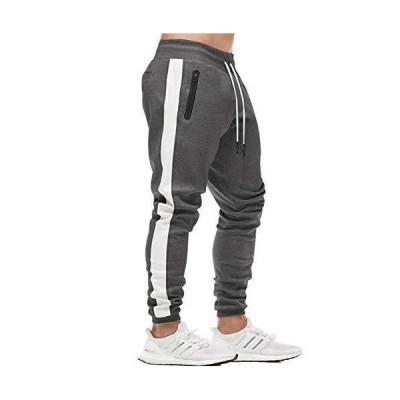 Susclude メンズ ジムパンツ ドローストリング スキニー スリム スウェットパンツ ランニングパンツ ポケット付き US サイズ: Small
