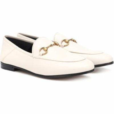 グッチ Gucci レディース ローファー・オックスフォード シューズ・靴 Brixton Collapsible leather loafers Mystic White