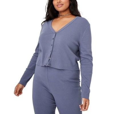 コットンオン ニット&セーター アウター レディース Trendy Plus Size Bella Button Through Crop Cardigan Blue