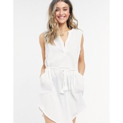 フィグリーブス レディース ワンピース トップス Figleaves siciliy sleeveless beach shirt dress in white