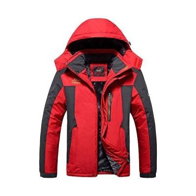 YSENTO 秋冬 メンズ 防寒着 マウンテンパーカー 裏起毛 防撥水 スキー 登山ジャケット フード付 脱着式 レッド L