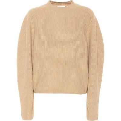 クロエ Chloe レディース ニット・セーター トップス ribbed wool and cashmere sweater Barley Brown