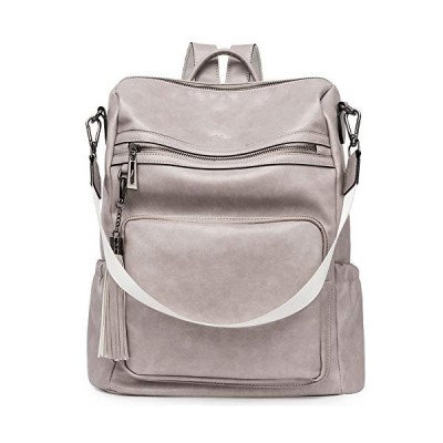 Backpack Purse for Women Fashion Leather Designer Travel Large Ladies Shoulder Bags with Tassel Grey 並行輸入品