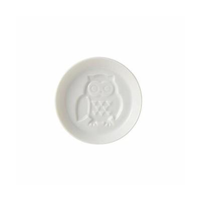 TAMAKI プレート しょうゆ小皿 フクロウ 直径8.3×高さ1.8cm 電子レンジ・食洗機対応 日本製 T-867211 ホワイト