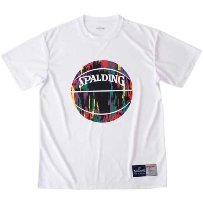 SPALDING スポルディング Tシャツ マーブル ホワイト×パープル XLサイズ