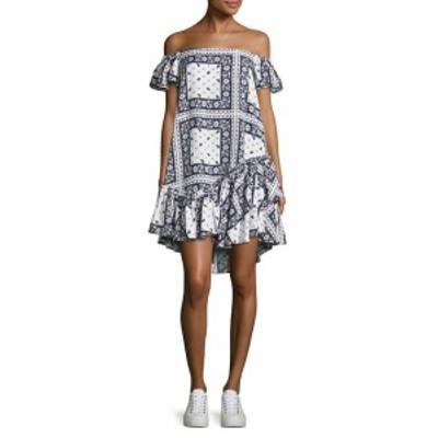 エリザベスアンドジェームス レディース ワンピース Minella Off-The-Shoulder Scarf-Print Dress
