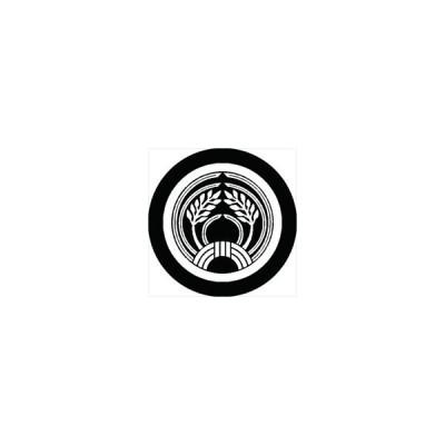 家紋シール 中輪に変わり結び稲紋 直径4cm 丸型 白紋 4枚セット KS44M-2350W