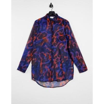 エイソス ワークシャツ メンズ ASOS DESIGN longline curved hem sheer animal print shirt in electric blue エイソス ASOS ブルー 青