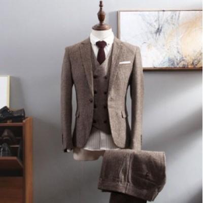 新作 メンズ ビジネススーツ 3ピーススーツ スーツセット 紳士用 ジェントルマン フォーマル 服 カッコイイ ホスト ビジネス ベスト付き