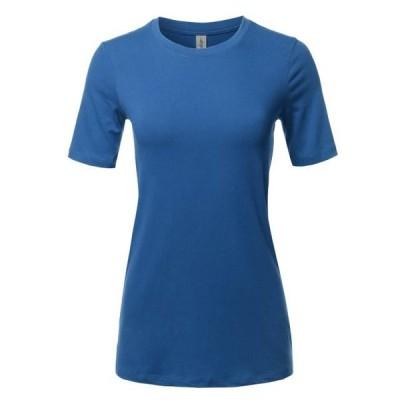 レディース 衣類 トップス A2Y Women's Basic Solid Premium Cotton Short Sleeve Crew Neck T Shirt Tee Tops Sapphire S