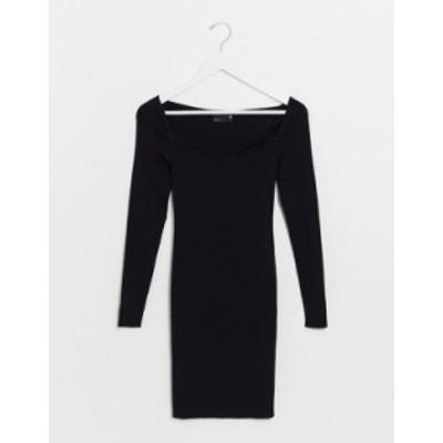 エイソス レディース ワンピース トップス ASOS DESIGN structured knitted mini dress with open sweetheart neck Black