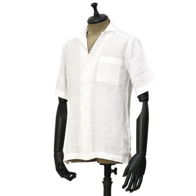 Bagutta【バグッタ】オープンカラーシャツ MAUI GAMT 11028 001 リネン ホワイト