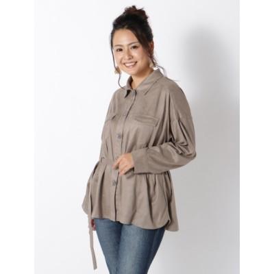 【大きいサイズ】【LL-4L】フェイクスウェードシャツジャケット 大きいサイズ トップス・チュニック レディース