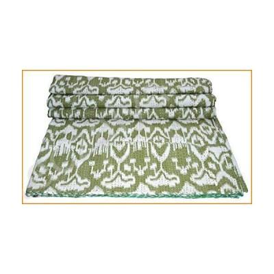 カンタキルト Yuvancrafts Indian Handmade Cotton Kantha Quilt Traditional Ikat Screen Print Queen Quilt Blanket Bedspreads Throw 並